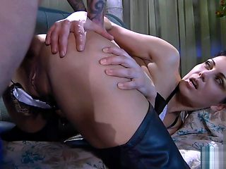 short haired girl in thigh high boots ass fucked