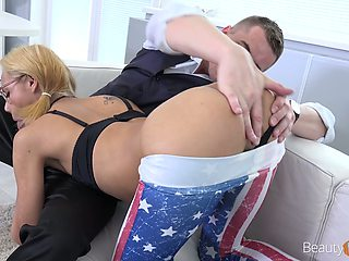Nerdy pigtailed Veronica Leal does her best as she works on strong boner cock