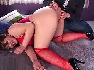 Japanese anal play with BBW in stockings