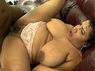 Brunette darky with giant breasts is totally addicted to cum