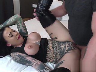 German tattoo slut SnowWhite fucks older guy