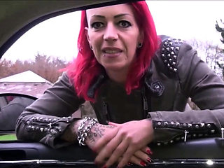 German real redhead prostitute pick up by car