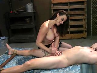 Beautiful Domina Ties Her Slave and Pegs His Ass
