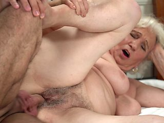 Old BBW feels a young phallus in her hairy cunt again