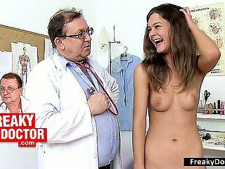 Hot slim brunette Rachel Evans gyno doctor invitation