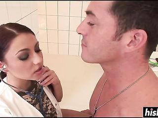 Hot doctor examines her patient dick