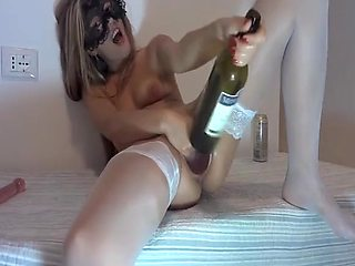 Bottle for her taut cunt