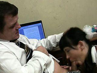 Teacher forcing himself on luscious hottie