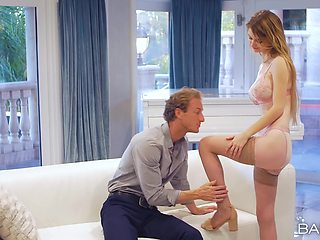 Sweet girlfriend Nadya Nabakova in nylon stockings riding a cock