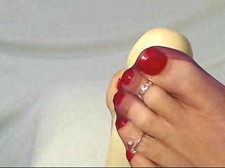 Kathy's ultra sheer reinforce nylons in sandals footjob