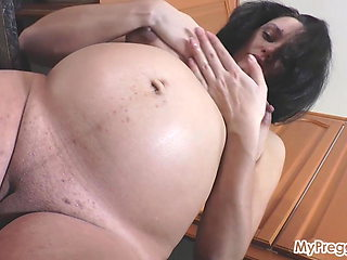 Knocked-Up and Masturbating on the Kitchen Counter!