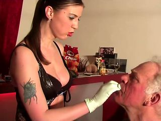 TWO YOUNG GERMAN MISTRESS HUMILIATE 70 YEAR OLD MAN