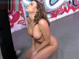 Busty babe gags on bbcs