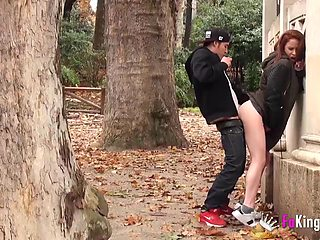 Horny couple loves having oral sex in the risky public places