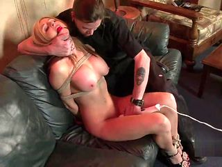 Busty slut struggles as her kinky date ties her up (p1)