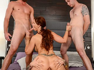 Watch milf Syren got a hardcore fucking with these three horny men