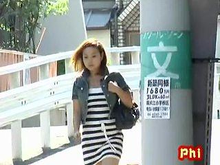Dear little Japanese hottie flashes her snatch during quick sharking encounter