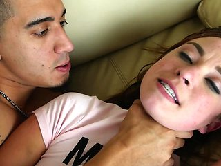 Teen chick is being brutally dominated and fucked by a rough dude