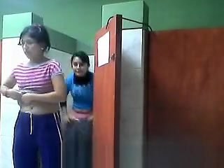 Two Girls Spied Going Toilet