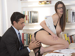 Hot brunette secretary Brooklyn Chase rides hardcock like a cowgirl