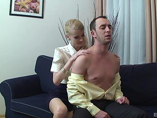 Blonde slut undresses herself and her husband for a quickie