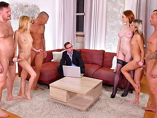 The boys had young whores Orgy with double penetration...