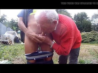 Old grandpa in red suckin cock