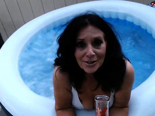 SEXY MATURE mom does bong rips in hottub with boob play