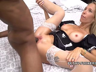 Mature Blonde Maid Is Using A Fucking Machine Quite Often, Although She Prefers To Fuck Black Guys