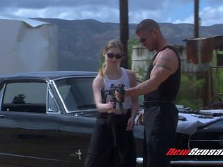 Sassy bitch Karina Kay gives a blowjob and gets fucked on car hood