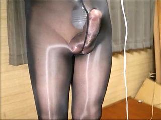 Black Shiny pantyhose ejaculation