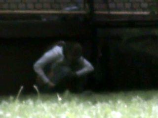 Hot student caught outside squatting on voyeur pissing vid