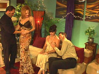 Amazing group sex ends with facials for Audrey Hollander and Bobbi Starr