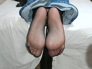Spanking wifes tied nylon soles