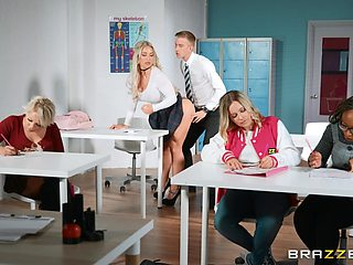 Blonde secretary Amber Jade knows how to suck a dick real good