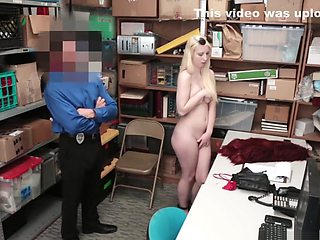 Young blonde sucks dick in the office and allows you to feel the pussy