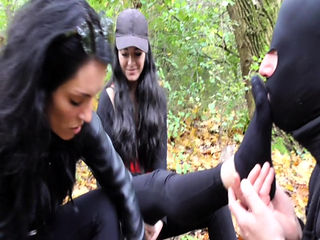 Femdom Brats dominate slaves outdoor