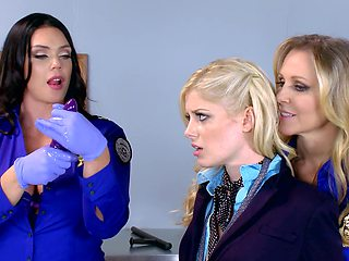 Three hot women are fucking each other in the office scene