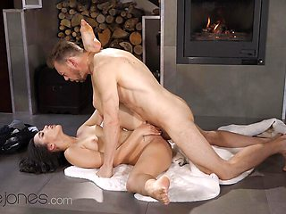 hot Romantic fireside orgasms for sexy Spanish