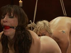 Dana gagged n hooked licked by Tara also hooked