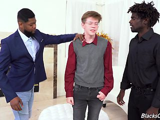 Interracial gay threesome with two black dicks and one skinny guy