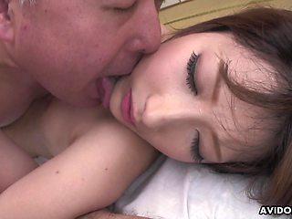 Cheating Japanese housewife Keiko Shinohara works on two cocks at once