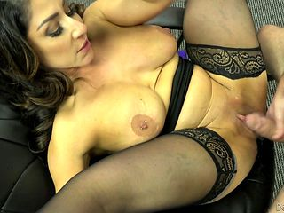 Brunette gags on rock hard dick of horny fuck buddy