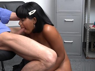 Hot ebony babe on a hot cock ride taking the studs meat deep inside her pussy