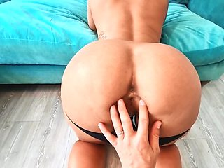 Busty blonde polishes boner before being nailed in doggystyle