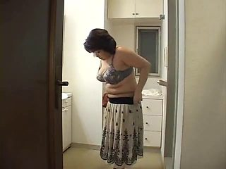 Japanese mon takes a shower with her toyboy
