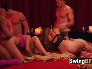 This hot swinger babe loves to be fucked in doggstyle by different swingers
