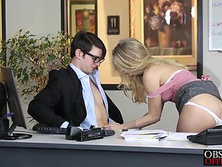 Gorgeous blonde Staci Carr drilled hard on the office desk