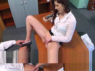 Redhead patient cockriding her doctor