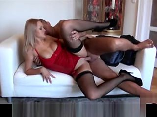 Stunning Sultry blonde in fishnet stockings get a big-cock